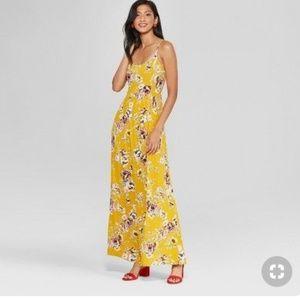 Xhilaration Size M Yellow Floral Print Maxi Dress